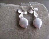 Coin Pearl  flower Earrings in Silver, Bridesmaid Gift