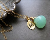 Initial Pendant with Gemstone and  initial of your choice in Gold
