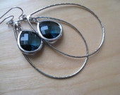 Large Silver Hoops with Blue Topaz Glass Dangle