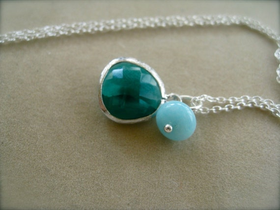 Emerald green Glass  Sterling Pendant with Amazonite