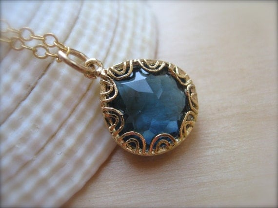 Blue Sapphire Glass   Pendant in Gold -reserved for Michele