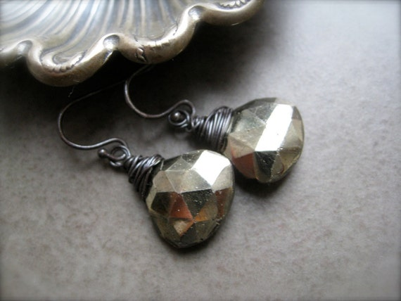 SALE -Pyrite sparkly Earrings in oxidized Sterling