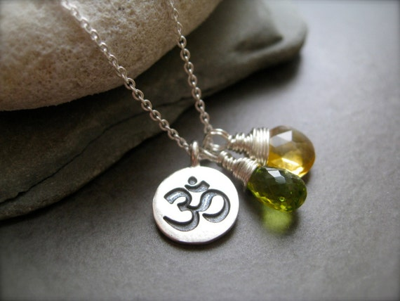 Om silver Pendant with your choice of 2 chakra beads -Black Friday Etsy, Cyber Monday Etsy