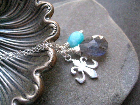 Labradorite  and Amazonite Pendant with  Fleur de Lis  silver charm