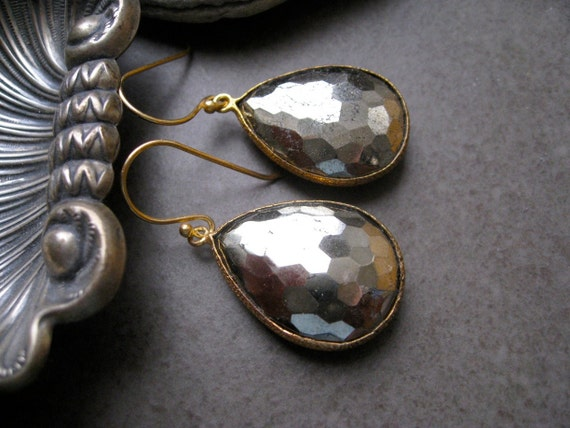 Sparkly Pyrite   Earrings  framed in Gold