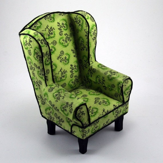 Dollhouse Miniature - The Storytellers Chair - Lime Green Wingback Chair