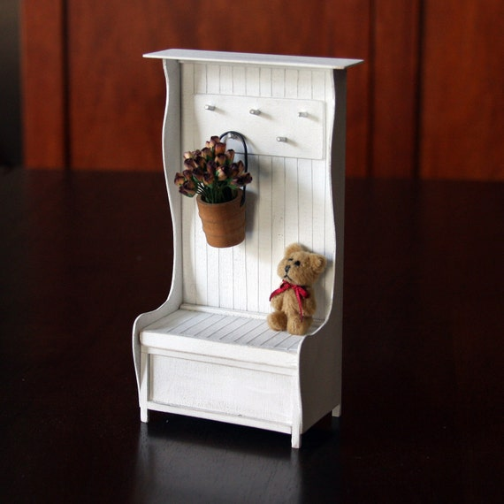 Doll House Miniature - White Shabby Chic Hall Tree - 12-02-002