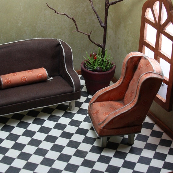 Doll House Miniature - CLEARANCE ITEM- Orange and Brown Chair and Couch Set - 12-03-001