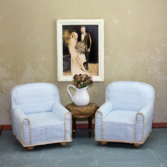 Doll House Furniture - Two Light Blue chairs with Tan trim and wood legs