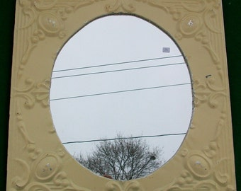 Chic Vintage Reclaimed Tin Ceiling Round Mirror Shabby S7624