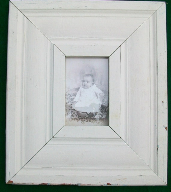 Old Extra Wide Fluted New York Architectural Salvaged Wood Shabby Picture Frame Recycled Chic S6744