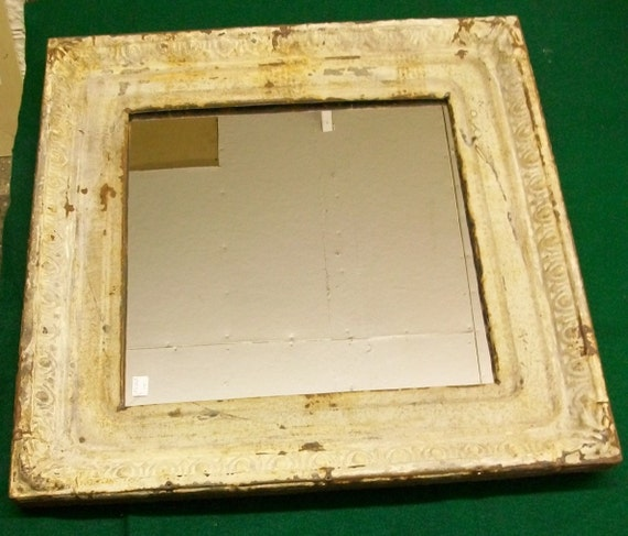 RECYCLED ANTIQUE CEILING TIN TILE MIRROR Reclaimed S4747