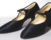 English Black silk late 1920s bar courts or strap pumps, or Mary-Janes, size 9 1/2 - 10