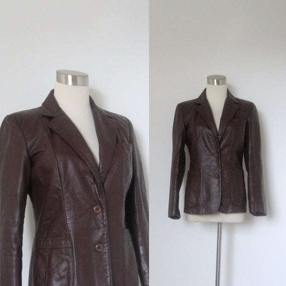 sale...Leather Jacket / 1970s Chocolate Brown Leather Blazer / Fitted (medium M)