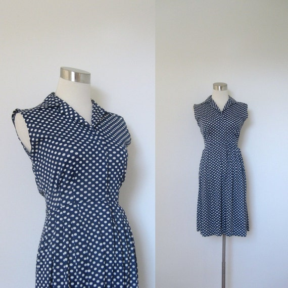 THANKSGIVING SALE-1960s Polka Dotted Dress / Navy Blue and White Polka Dots / Zip Front