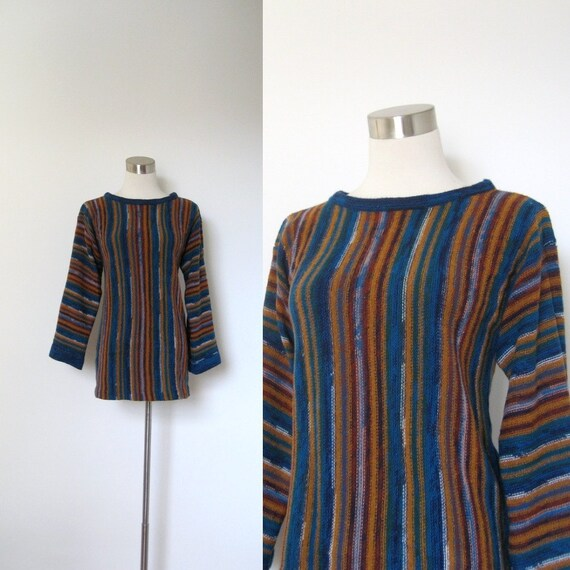 1970s Sweater / 70s Multicolor Striped Knit Tunic / Space Dyed (small medium)
