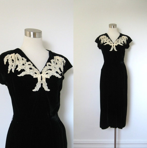 Reserved...1940s Dress / 40s Black Velvet Evening Dress with White Applique / Rhinestones (large L)