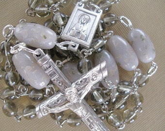 Gray Flower Petal Rosary For Men/ Wedding and Funeral Keepsake Beads