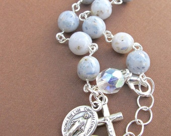 Flower Petal Small Rosary Bracelet/ Bridal and Funeral Beads/ Custom Made