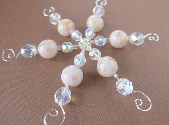 Flower Petal Snowflake Ornament/ Wedding Funeral Keepsake Beads/ Your Flowers
