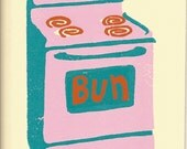 baby, bun in the oven greeting card.