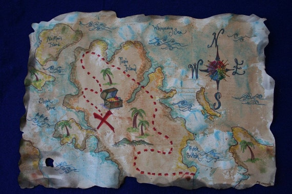 Hand-Painted Pirate Treasure Map for Pretend Play (number 2)