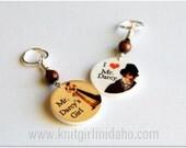 Mr. Darcy, Pride & Prejudice, Jane Austen Charm Stitch Markers (Set of 2)