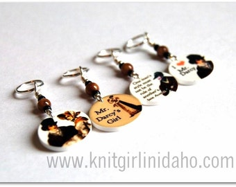 Mr. Darcy Mr. Knightley Emma Pride & Prejudice Jane Austen Stitch Markers (Set of 4)