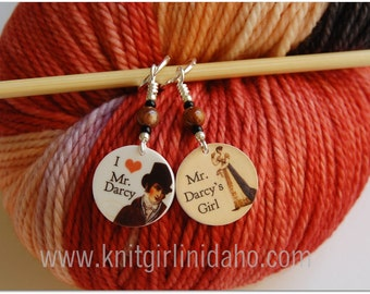 Mr. Darcy, Pride & Prejudice, Jane Austen Charm Stitch Markers (Set of 2)
