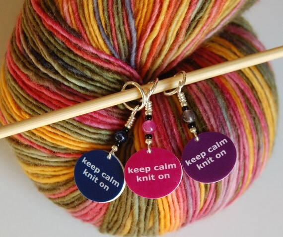 Keep Calm Knit On Set of 3 Stitch Markers (Dark Blue, Pink & Purple)