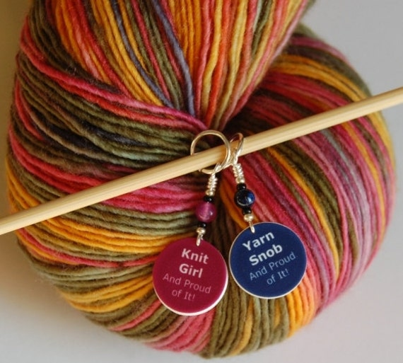 Stitch Markers: Knit Girl Charm and Yarn Snob Charm Stitch Markers (Set of 2)