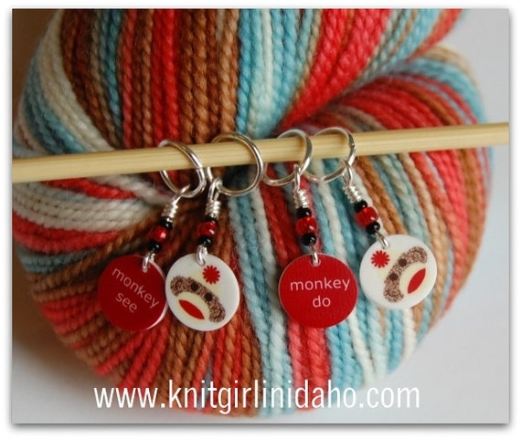 Mini Sock Monkey Stitch Markers (Set of 4)