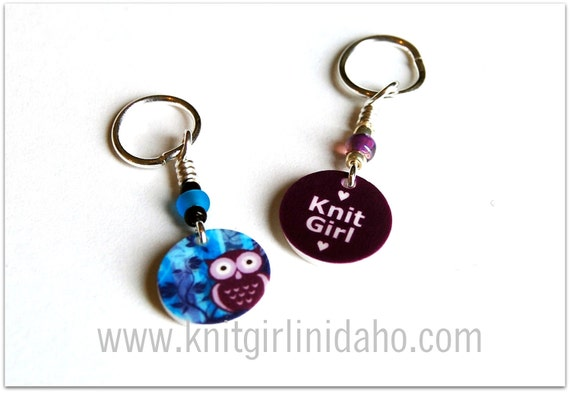 Mini Stitch Markers: Knit Girl and Whimsical Owl Stitch Markers (Set of 2)