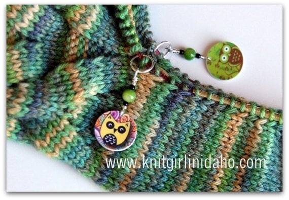Stitch Markers: Whimsical Owl Charm Stitch Markers (Set of 2)