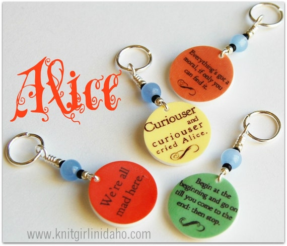 Alice In Wonderland Quote Charm Stitch Markers (set of 4)