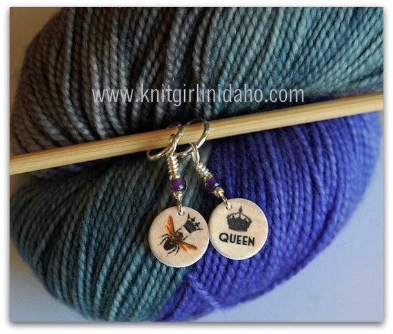 Mini Queen Bee Stitch Markers (Set of 2)