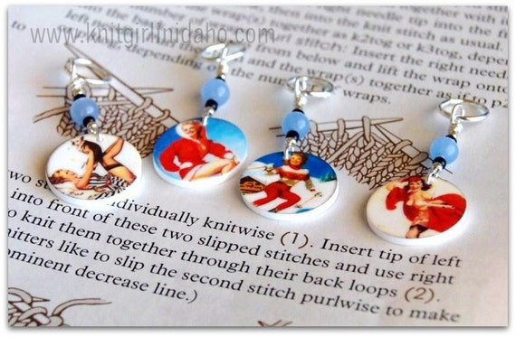 Stitch Markers: Winter Ski Pinup Stitch Markers (Set of 4)