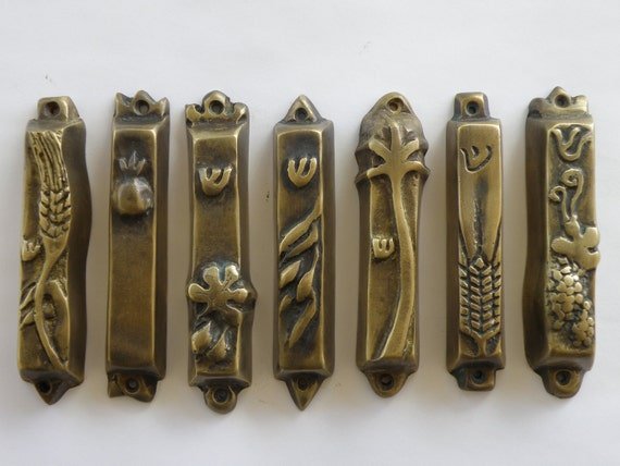 Set of 7 bronze mezuzahs from the seven species series, judaica designed by Shaul Baz, special offer