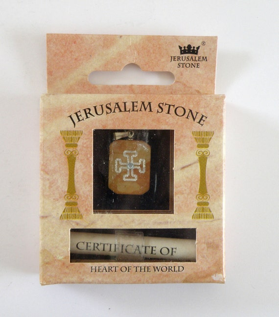 Jerusalem stone pendant with a cross print,  made in Jerusalem