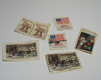 Vintage US Cancelled 13 cent Postage Stamps For Altered Art, Mixed Media, Collage and Scrapbooking FREE Shipping US only