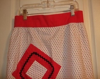 Vintage Red and White Apron, Half Apron,  Mini Print, Handmade Apron, Black Rick Rack, Red and White Mini Print