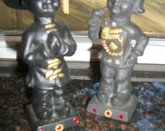 Vintage Asian Oriental Couple Pair of Ceramic Souvenir Figurines from Hallettsville Texas