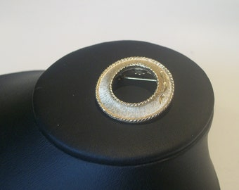 Mamselle signed Vintage Class Mid Century Modern Costume Jewelry Gold Plated Brushed Circle Pin 1960s FREE Shipping US only