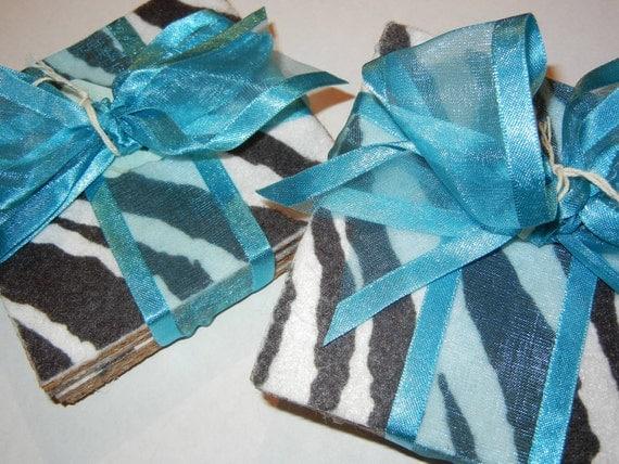 BUY 4 GET 4 FREE Coaster Zebra Stripe Felt with cork backing Set of 4