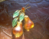 Vintage Austria Brooch featuring double golden pears with green leafs, made of frosted Glass, and Austrian crystal