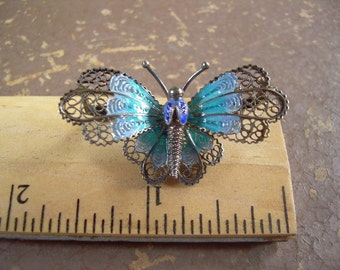 Antique 800 or 850 silver filigree and enamel Butterfly Brooch Truly Amazing Piece