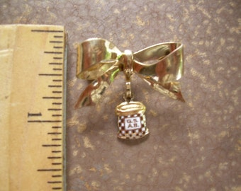 Vintage gold filled brooch a must see, so cute with Initials on little dangle charm