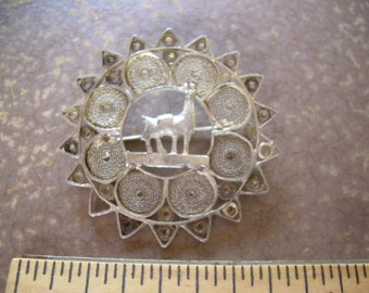 Vintage 925 Filigree llama brooch hand crafted with C style clasp