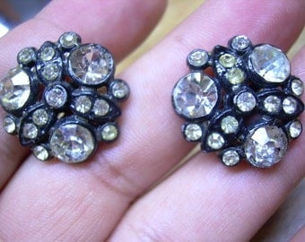 Old antique black and rhinestone screw back earrings, These are a nice addition to any gothic attire