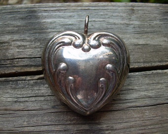 Old vintage sterling silver Victorian puffed heart bell pendant would make a lovely wedding Bell